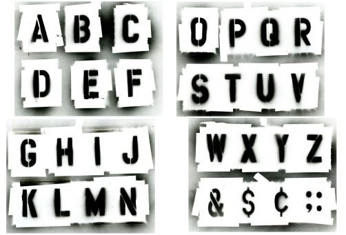 istock Black spray painted stencil alphabet set 157282675