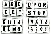 Black spray painted stencil alphabet set