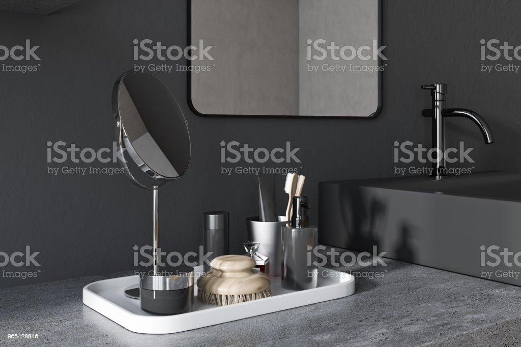 검은 사각형 욕실 싱크 코너 - 로열티 프리 0명 스톡 사진