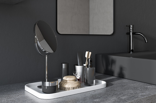 검은 사각형 욕실 싱크 코너 0명에 대한 스톡 사진 및 기타 이미지