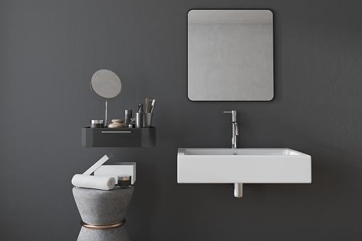 검은 사각형 욕실 싱크대 인테리어 0명에 대한 스톡 사진 및 기타 이미지
