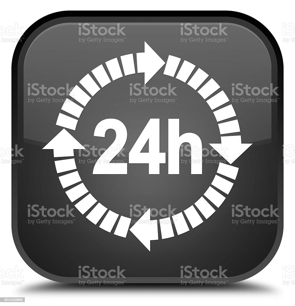 black square button 24 hours delivery icon special stock photo