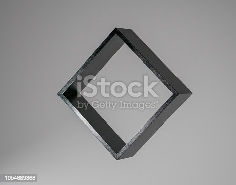 istock black square isolated on grey background, freestanding black frame, abstract framework photography 1054689368