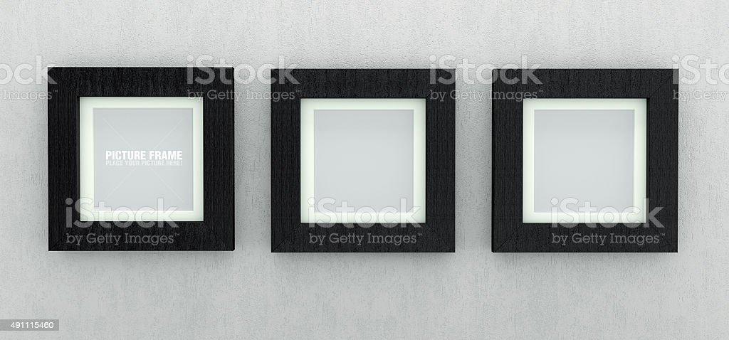 Black square picture frames stock photo