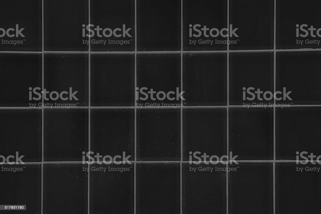 Black Square Tile Background, Monochrome Shower or Floor, Closeup stock photo