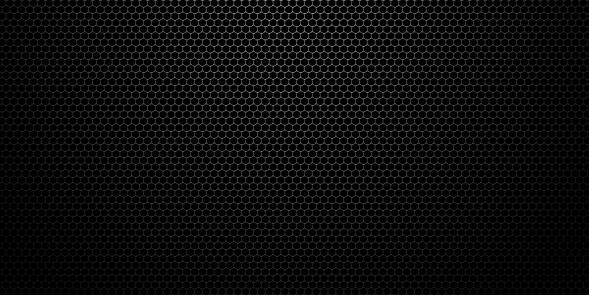 Black stainless steel hexagonal mesh background. 3d technological hexagonal illustration.