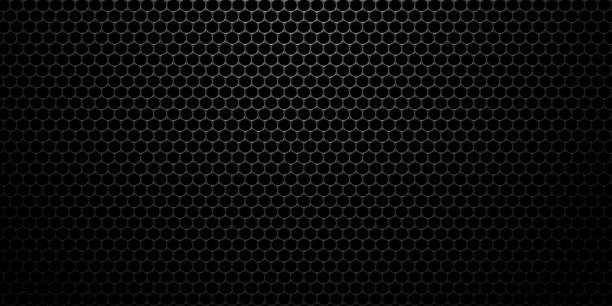 黑色不銹鋼六邊形網格背景。3d 技術六邊形插圖。 - 蜂巢式樣 個照片及圖片檔