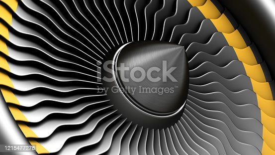 890084136 istock photo Black stainless steel jet engine blades. Close-up view of turbine from turbojet airplane engine. 1215477278