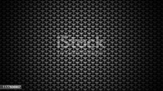 670341570istockphoto Black stainless steel mesh background. Modern steel 3d illustration. Futuristic technology carbon fiber texture. 1177836907