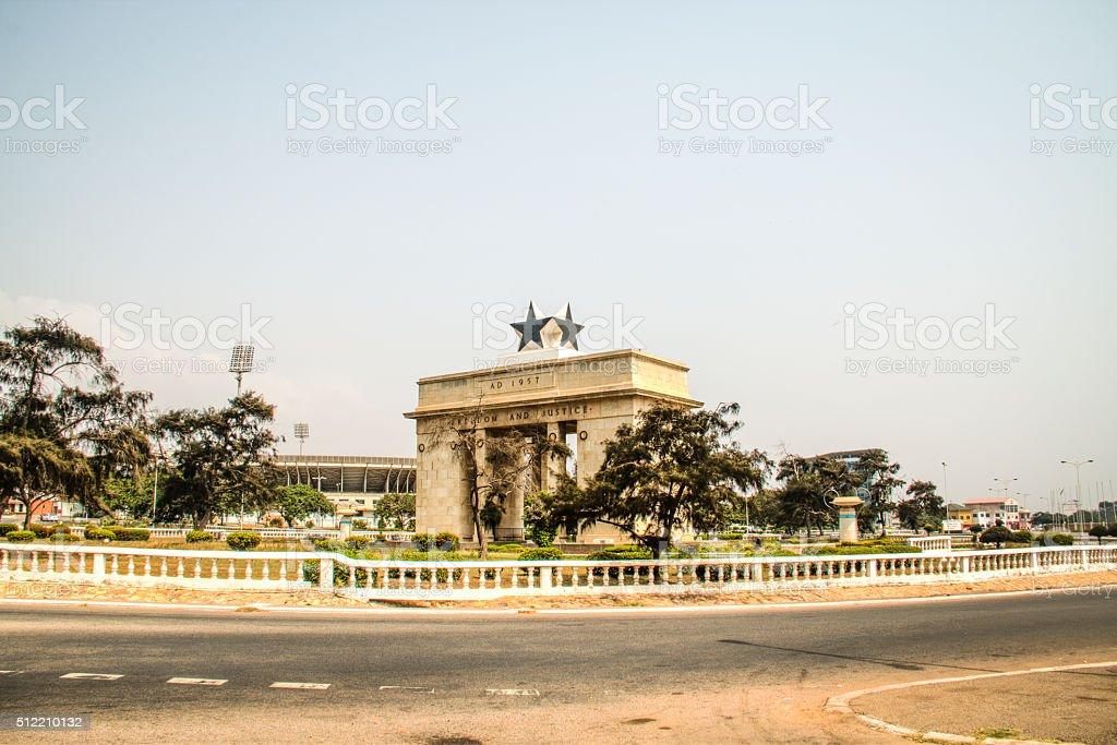 Black star arch in Accra, Ghana stock photo