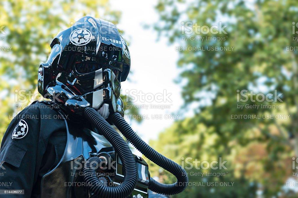 Black Star Wars TIE Pilot in Madrid stock photo