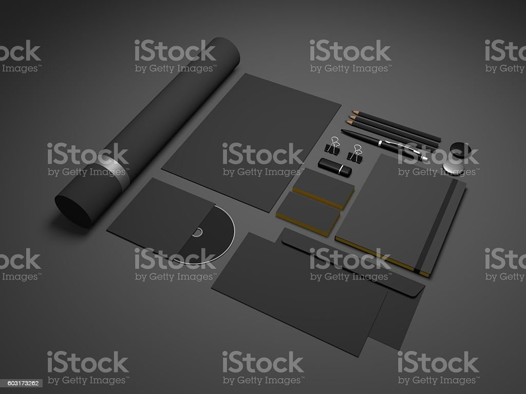 Black stationery branding mock-up 3D illustration on dark stock photo