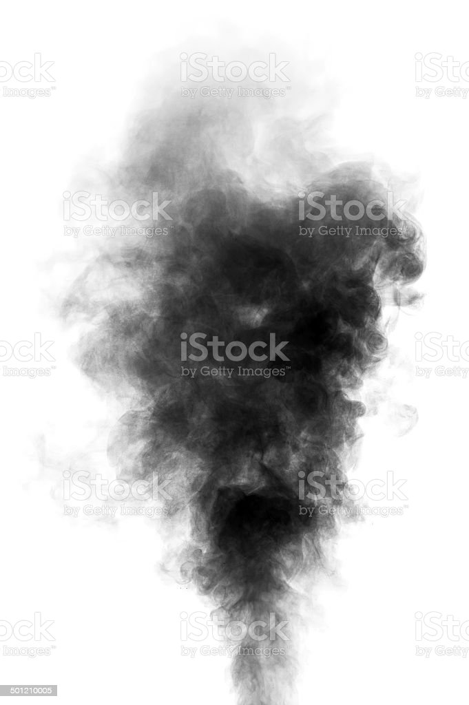 Black steam looking like smoke on white background stock photo