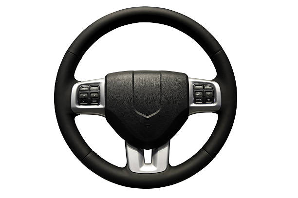 Black steering wheel on a white background stock photo