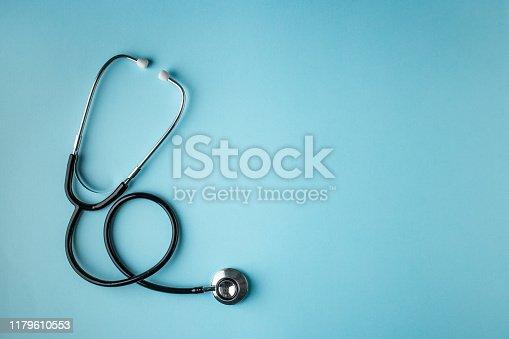 stethoscope, black, blue background, isolated
