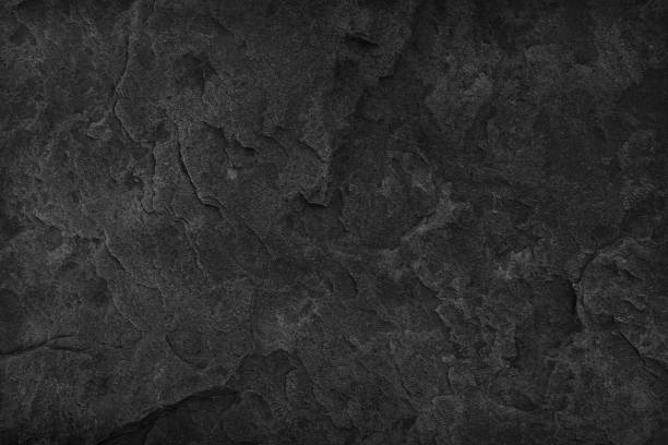 black stone background. dark gray texture close up high quality may be used blank for design. copy space - slate rock stock photos and pictures