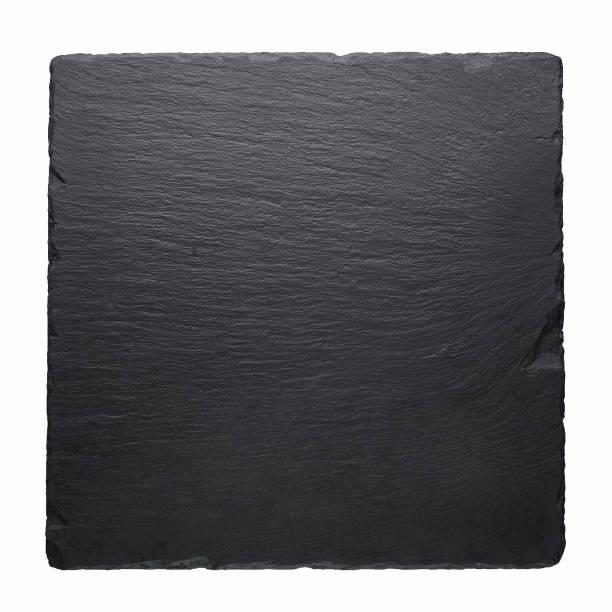 zwarte stenen vierkante tegel geïsoleerd op witte achtergrond. - leisteen stockfoto's en -beelden
