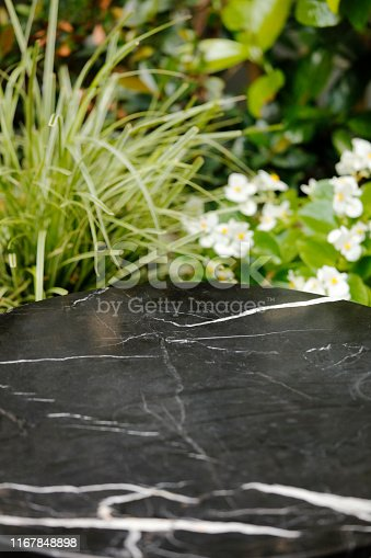 662984994 istock photo Black Stone table top and blur plant banner background 1167848898