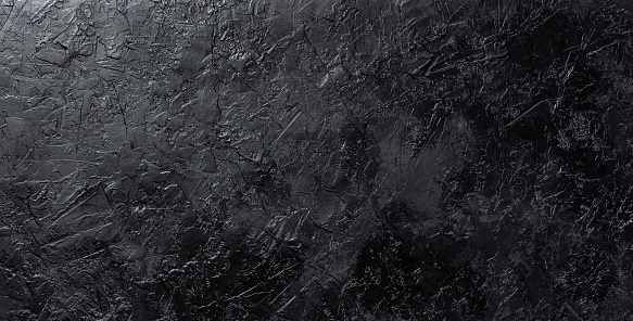 Black stone texture, dark slate background, gray industry concrete wall, top view