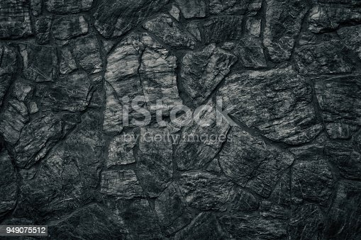 istock Black stone wall texture as sinister Gothic background 949075512
