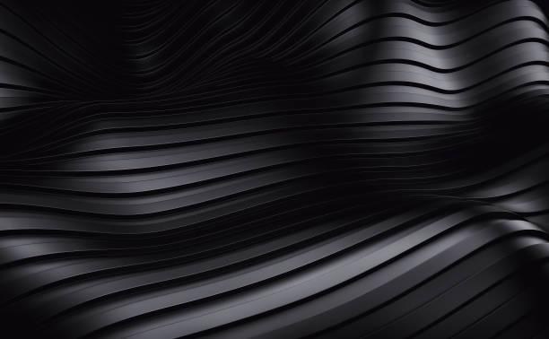 Bande noire ondes fond futuriste. rendu 3D - Photo