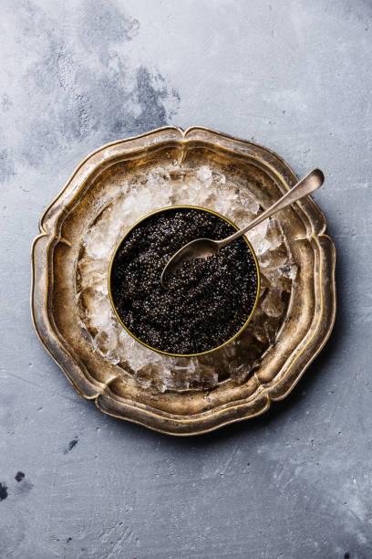caviar de esturión de negro en el hielo - caviar fotografías e imágenes de stock