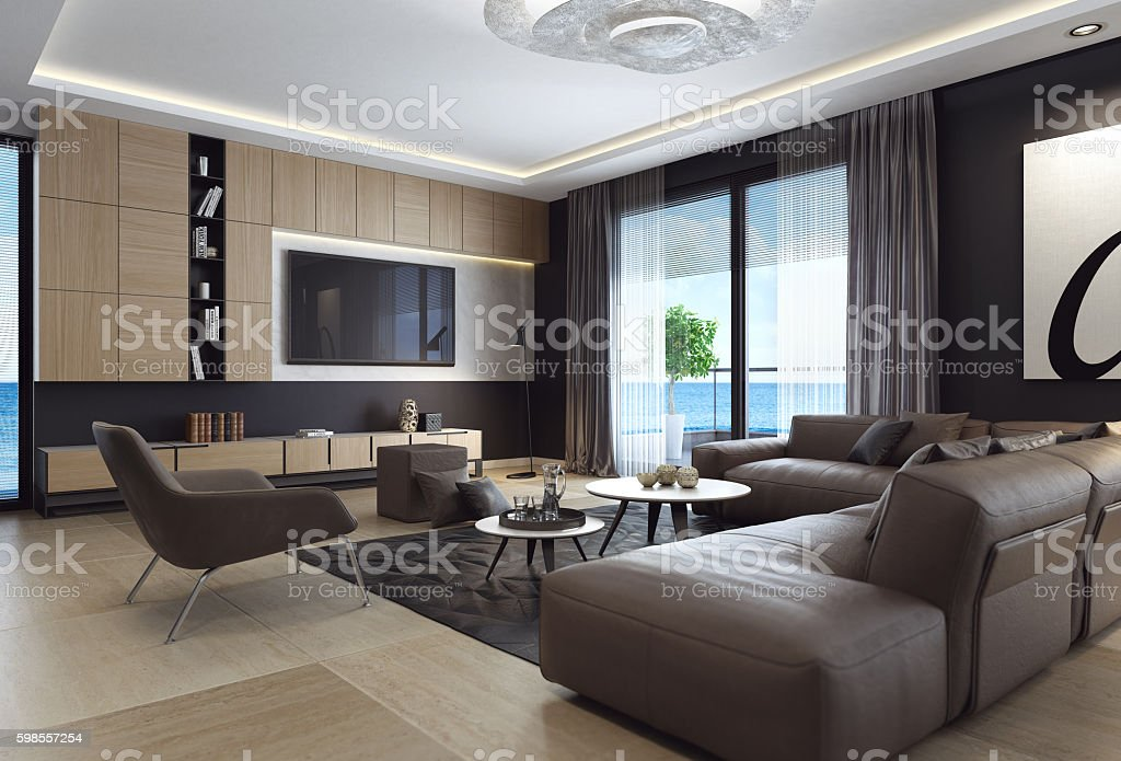 Black style living room interior with leather sofa and TV – Foto