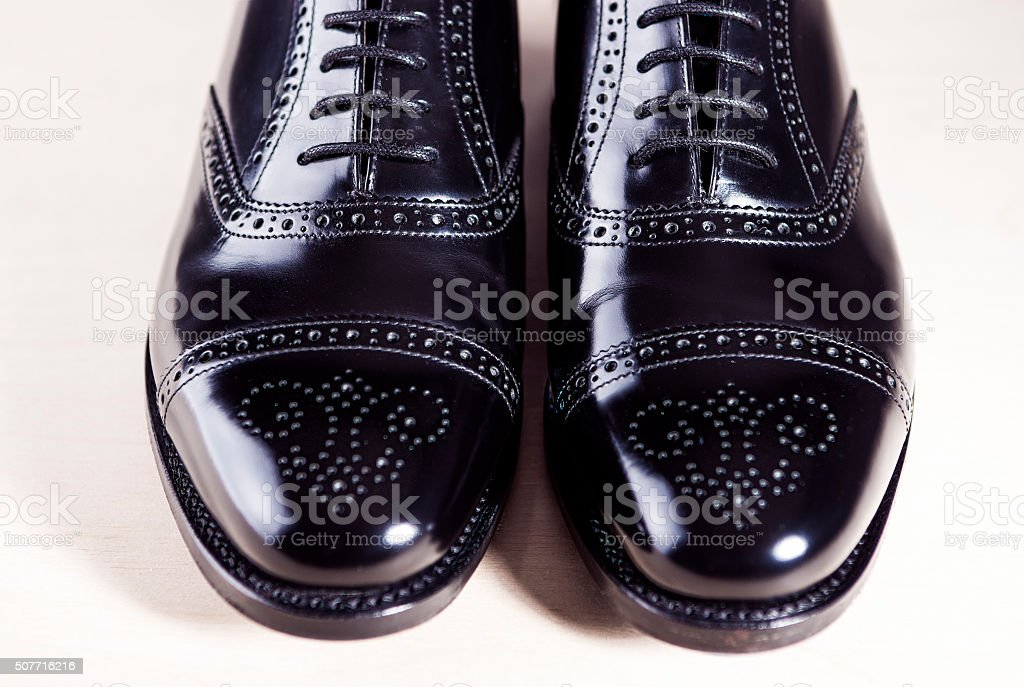 Black Stylish Male Oxfords Laqured Semi-Brouge Laced Shoes stock photo