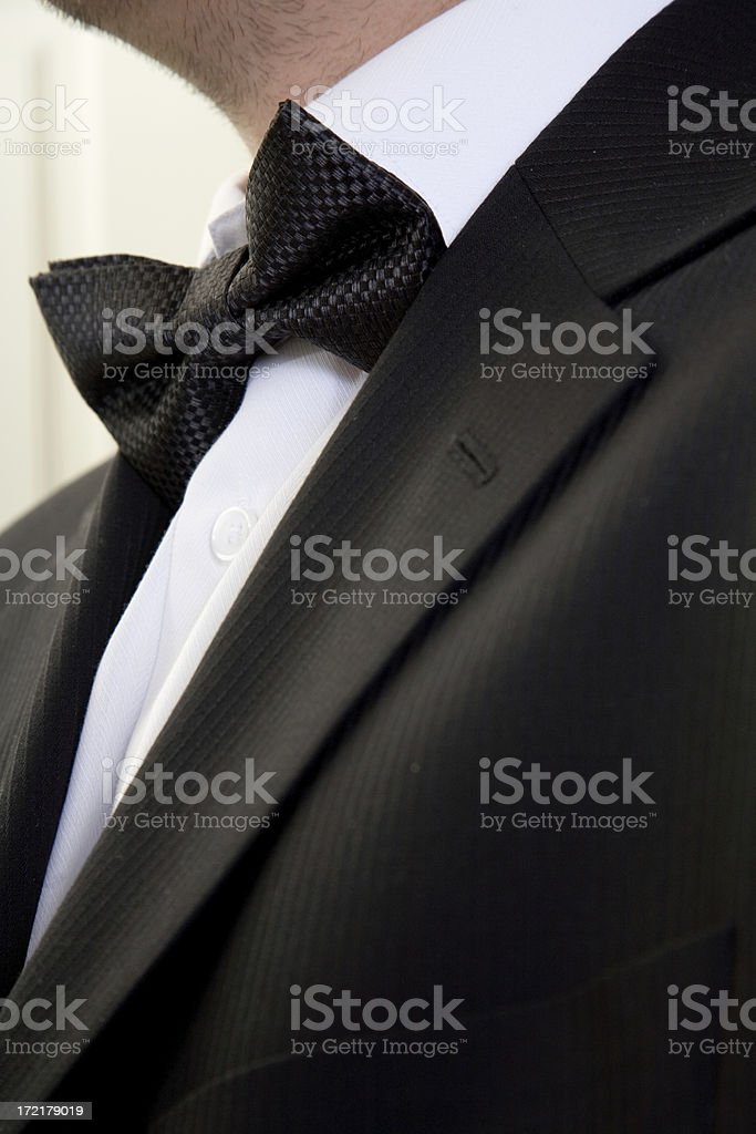 Black Suit White Shirt and a Bow Tie royalty-free stock photo