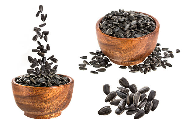 Black sunflower seeds collection stock photo