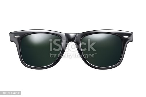 Black classic sunglasses isolated on white background with clipping path