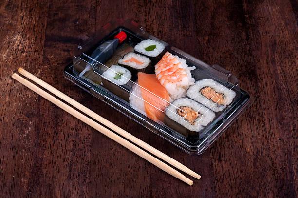Black sushi box stock photo