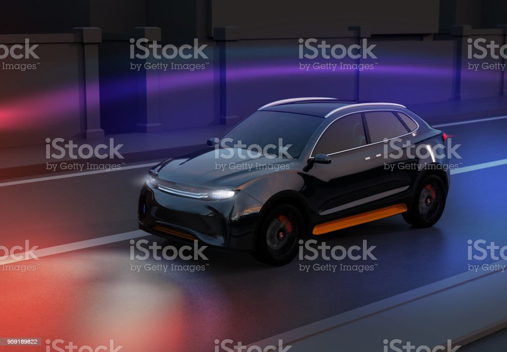 Black SUV driving on the road with graphic mesh pattern retouched stock photo