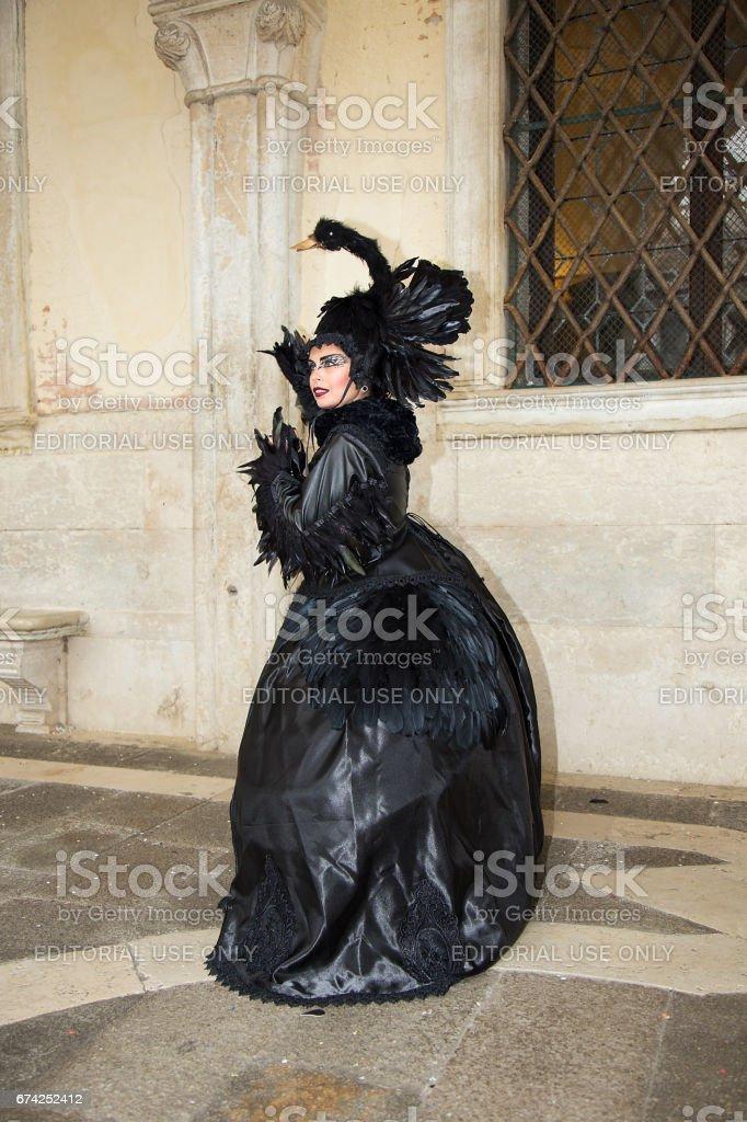 f263c3c679a5 Black Swan Halloween Costume - Female Venetian Mask On Venice Carnival  Royalty-free Stock Photo