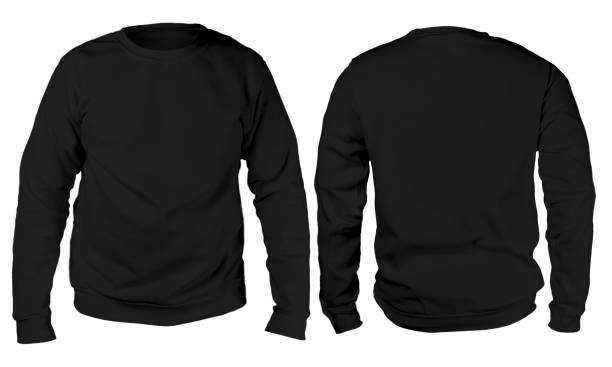 Black sweater long sleeved shirt mockup template Blank sweatshirt mock up template, front, and back view, isolated on white, plain black long sleeved sweater mockup. T-shirt design presentation. Jumper for print. Blank clothes sweat shirt sweater sweater stock pictures, royalty-free photos & images