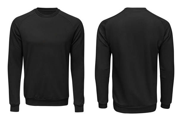 black sweatshirt,, clothes on isolated - sweatshirt stock photos and pictures