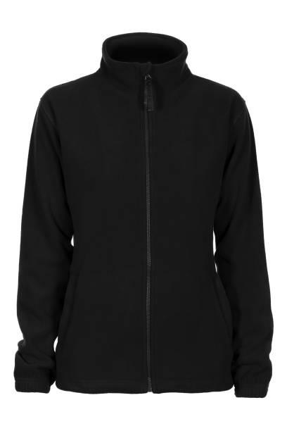 schwarzes sweatshirt fleece für frau - fleecepullover stock-fotos und bilder