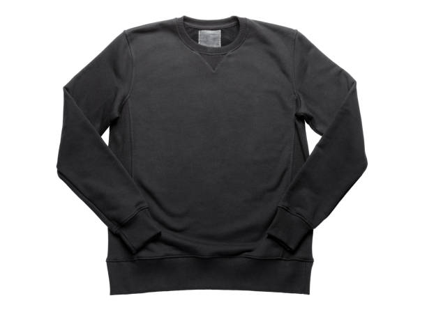 black sweatshirt isolated on white background - sweatshirt stock photos and pictures