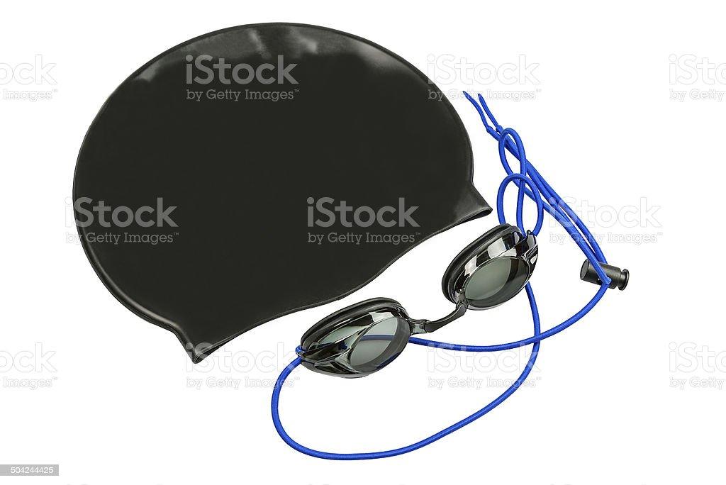 Black swim cap and goggles on a white background stok fotoğrafı