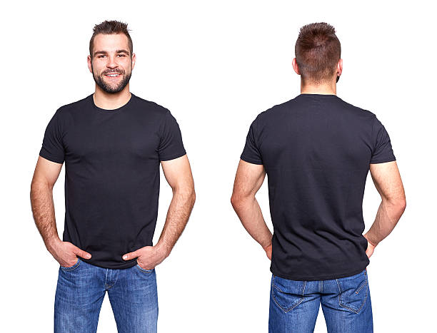 black t shirt on a young man template - t shirt stock photos and pictures