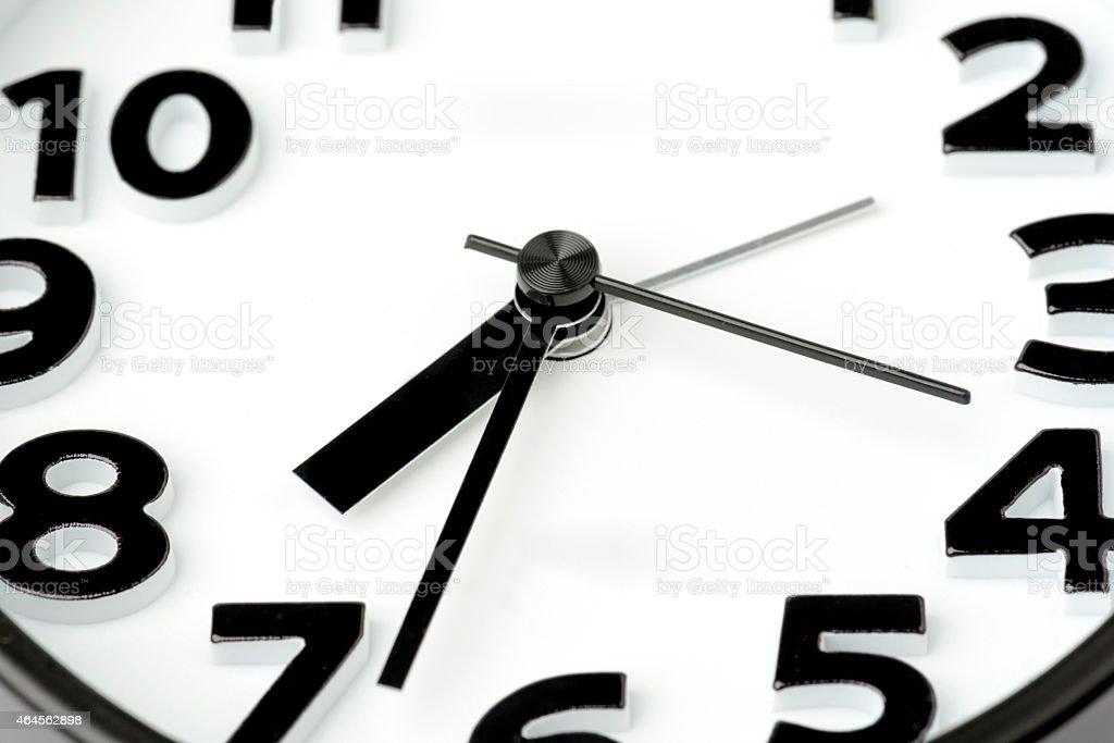 Macro of clock\'s number is isolated on white background.