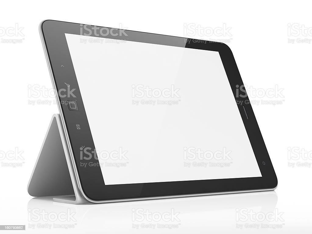 Black tablet computer pc on stand, white background stock photo
