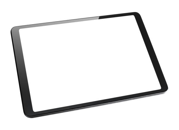 Black tablet computer with blank screen on white Black tablet computer with blank screen, isolated on white background ipad stock pictures, royalty-free photos & images