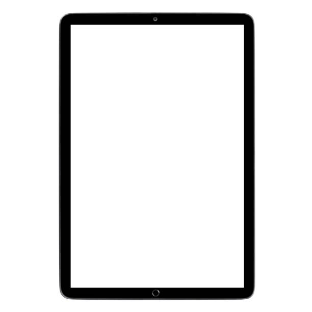 Black tablet on white Black tablet computer with blank screen, isolated on white background ipad stock pictures, royalty-free photos & images