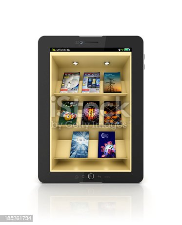 istock Black tablet showing a book store or library app with shelf 185261734