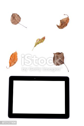 istock Black tablet with leaves 872127936