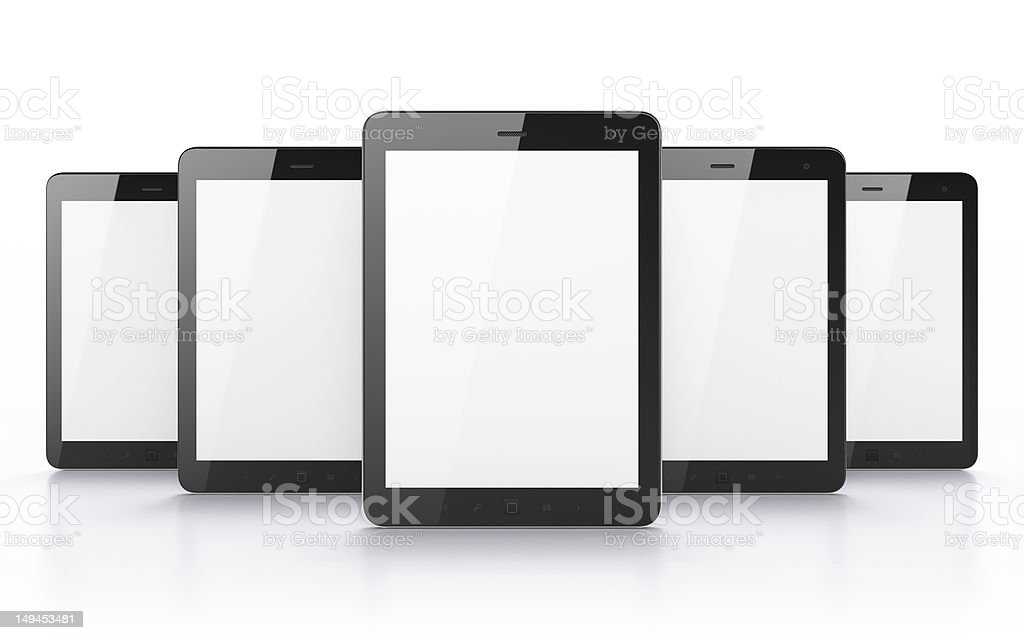 Black tablets with blank screens on white background royalty-free stock photo