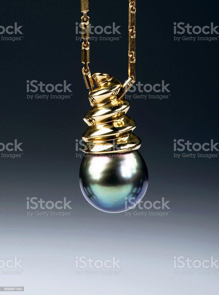 Black Tahitian Pearl. stock photo