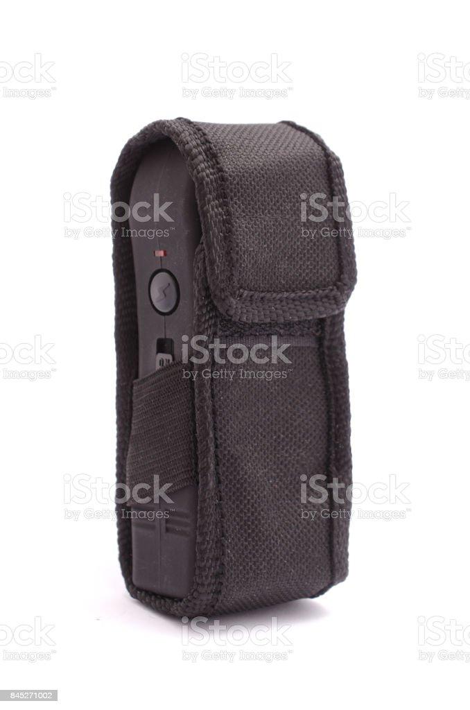 black taser in the case isolated on white stock photo