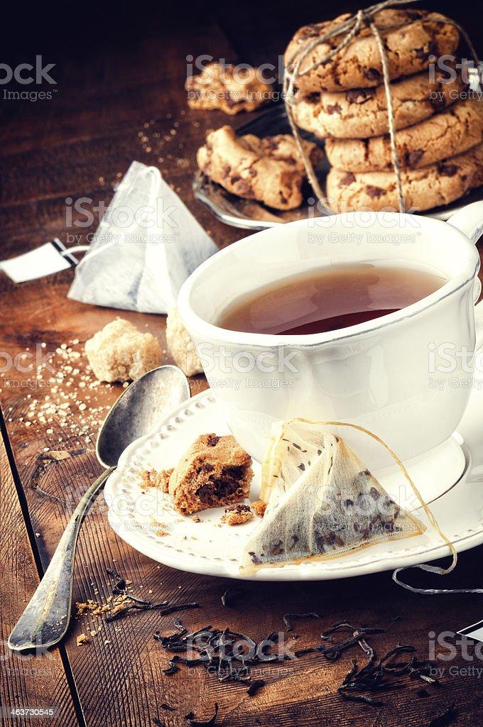 Black tea and cookies stock photo